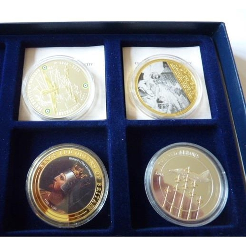 406 - Commemorative Limited Edition silver gilt Medals (4), the Red Arrows, Kings and Queens of Britain, T...