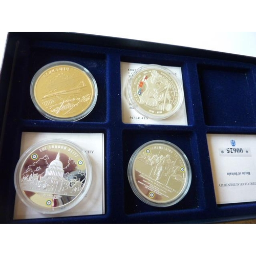 407 - Four boxed silver gilt Medals commemorating Concorde, the London Blitz, the World War II D Day Landi...