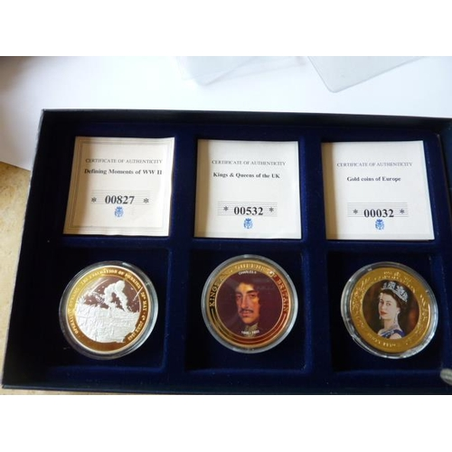 408 - Three boxed silver gilt Commemoratives, the Coronation 50 Pence, Kings and Queens of Britain (Charle...