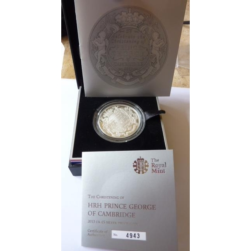 409 - A boxed Limited Edition 2013 UK 5 Pound silver proof Coin commemorating the Christening of HRH Princ...