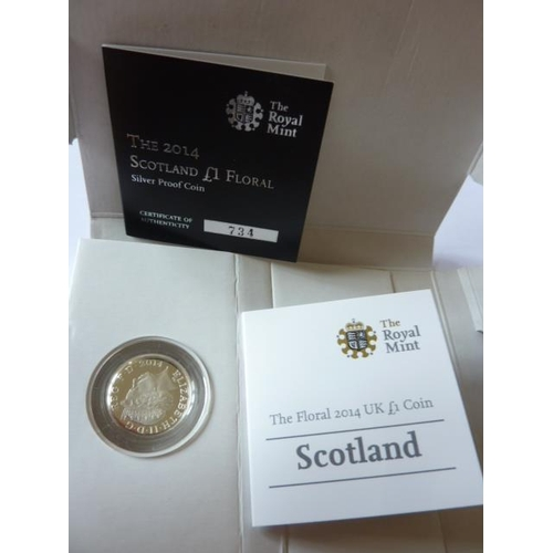 410 - A Limited Edition 2014 Scotland One Pound floral silver proof Coin with paperwork...
