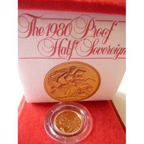 414 - A cased 1980 proof Half Sovereign with paperwork...