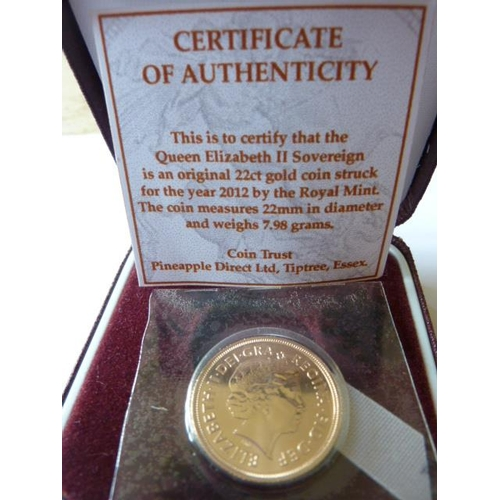 417 - A boxed 2012 UK gold Sovereign...