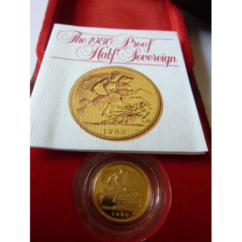 418 - A cased 1980 UK proof Half Sovereign...