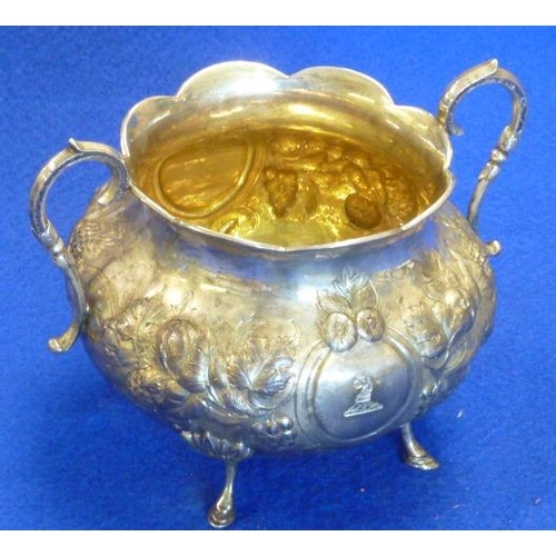 42 - A large 19th Century two-handled Sugar Bowl, gilded interior repoussé decoration of various fruits e...