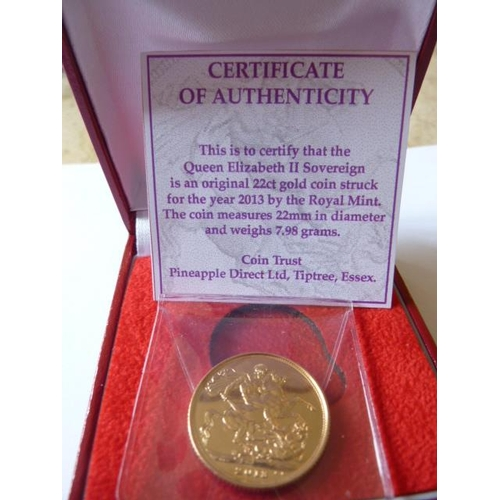 421 - A boxed 2013 UK gold Sovereign...