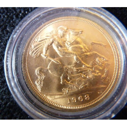 423 - A boxed Elizabeth II UK gold Sovereign dated 1968...