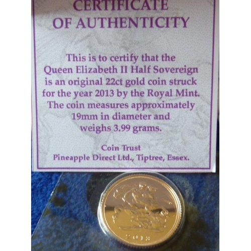 427 - A boxed 2013 gold Half Sovereign...