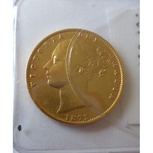 436 - A 19th Century Queen Victoria Full Sovereign dated 1872...