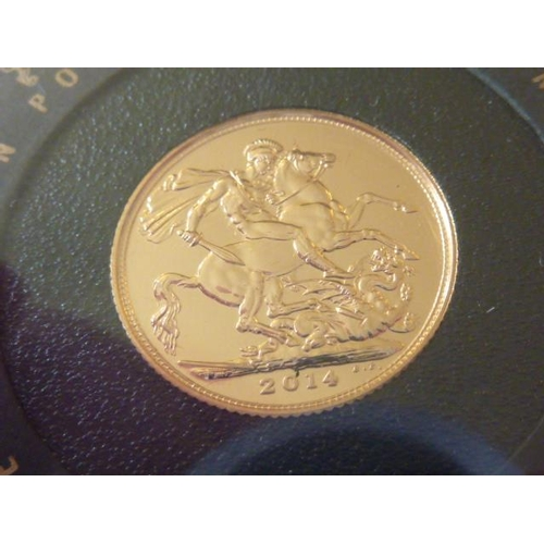 438 - Queen Elizabeth II 2014 gold Sovereign within perspex case...