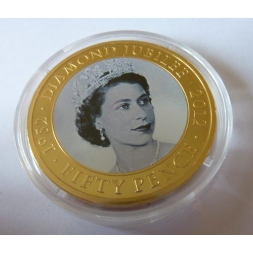 449 - A commemorative silver gilt 50 Pence piece, Diamond Jubilee of Queen Elizabeth II in 2012...