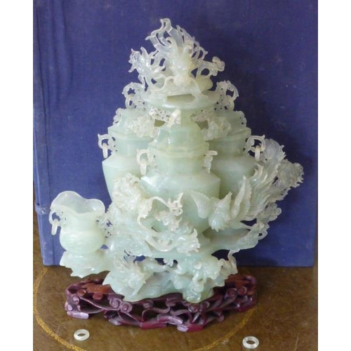 455 - A large and elaborate boxed Chinese Jadeite two piece Vase and Cover Sculpture, the whole of the Cel...