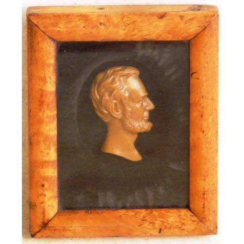 456 - A 19th C. Wax Portrait of Abraham Lincoln in original burr walnut frame...