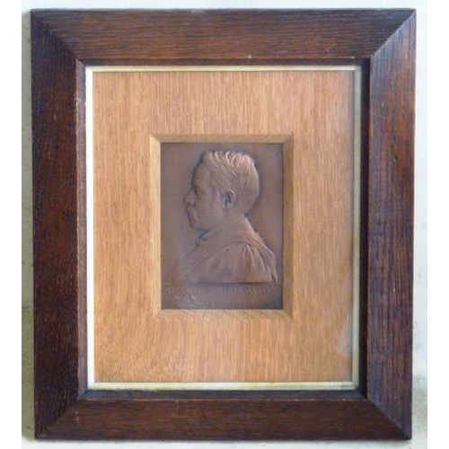 458 - A copper Plaque in original oak frame depicting William Chandler Roberts-Austin KCB DCI FRS, Metallu...
