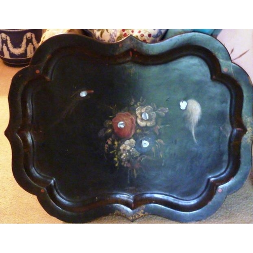 469 - A good and large mid 19th Century shaped papier mache Serving Tray hand gilded and decorated with ex...