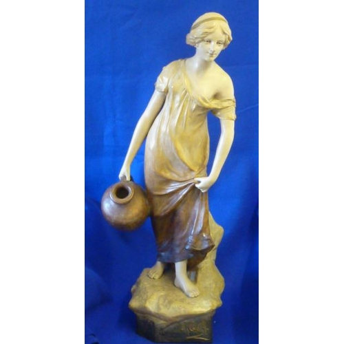 48 - A large early 20th Century painted terracotta Figure ''Aqua'', signed and dated to the rock near the...