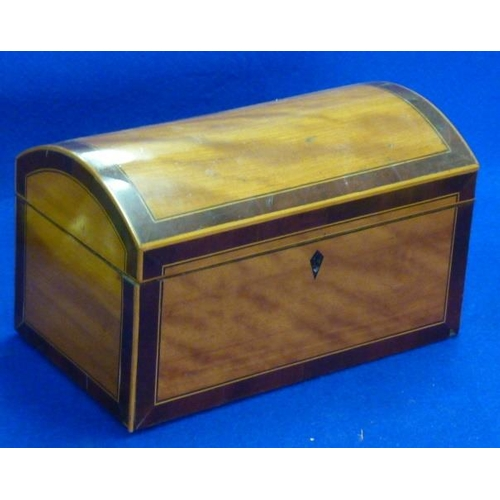 487 - A George III dome topped satinwood and mahogany crossbanded Tea Caddy (now minus internal lids), 25c...