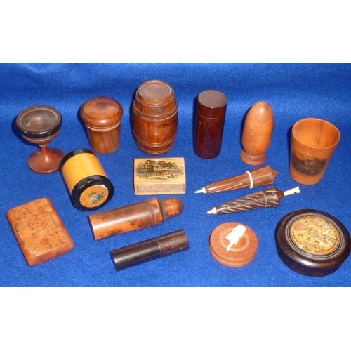 489 - An interesting selection of small Treen objects to include Mauchlinware, olive wood and an unusual t...