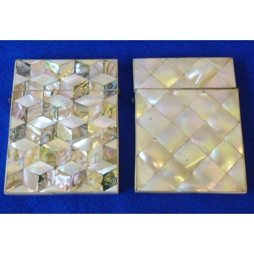 490 - Two 19th Century mother of pearl Card Cases...