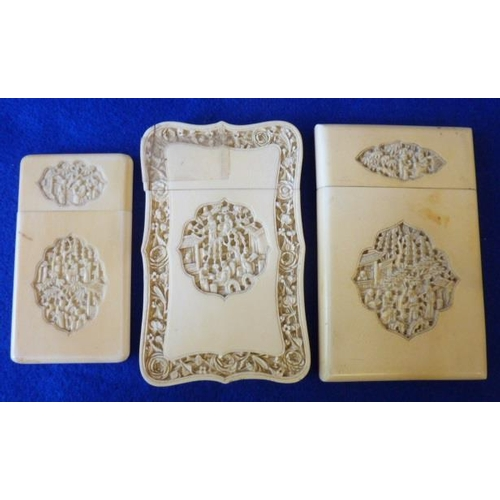 491 - Three 19th Century carved Chinese ivory Card Cases intricately decorated with various figures and bu...