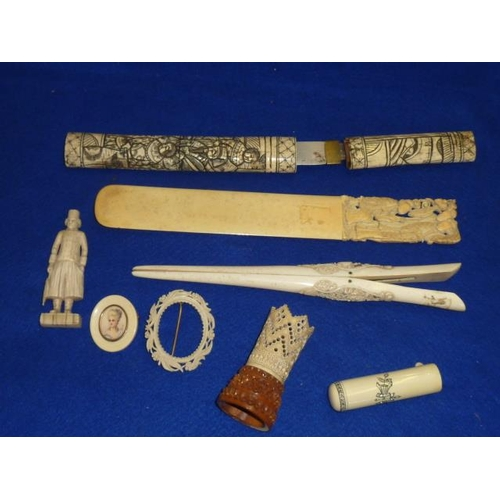 495 - An interesting selection of 19th C. Ivory (incl. Oriental) comprising a Page Turner very finely deco...