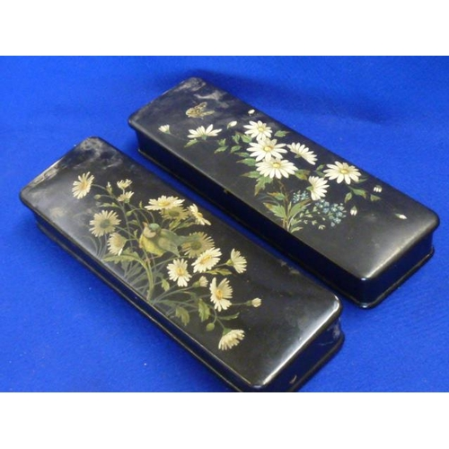 496 - Two 19th Century lacquered papier mache Glove Boxes decorated with daisies etc.,...
