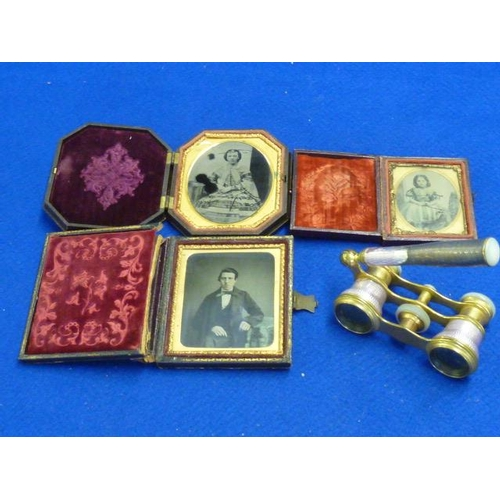 497 - Three cased Daguerreotype type Portraits, together with a pair of gilt, enamel and mother of pearl m...