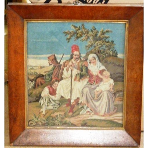 500 - A 19th Century birdseye maple framed and glazed Berlin style Needlework, biblical scene 42.5cm x 38c...
