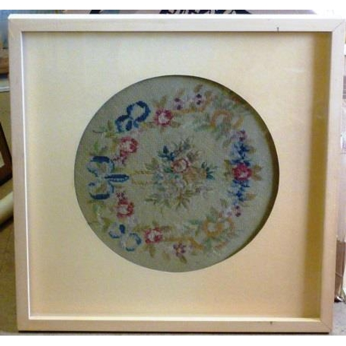 501 - A boxed framed and glazed 19th Century Berlin style Woolwork of floral spray and wreath etc.,, 39.5c...