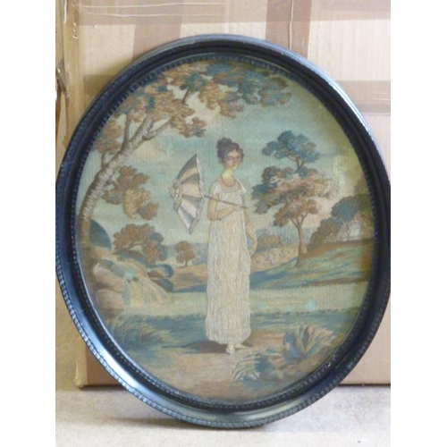 504 - A fine Regency period oval ebonised framed and glazed Needlework on silk Study of a beautiful young ...