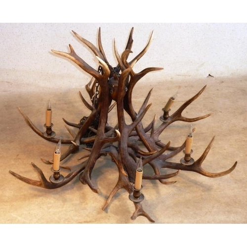 510 - A large and fine six-light Stag antler's Chandelier, largest width approx. 109cm high, highest point...