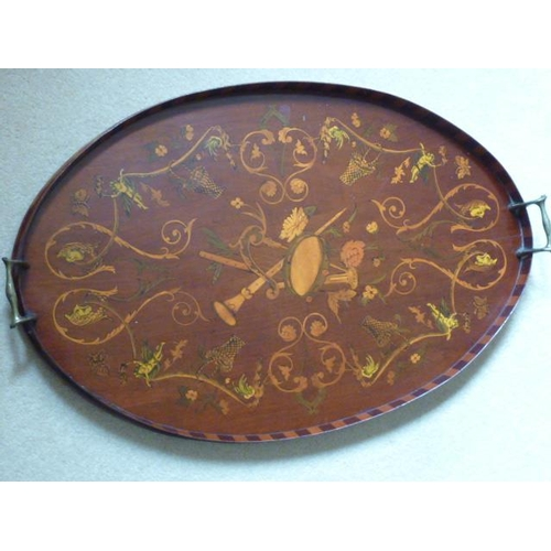 512 - A fine 19th Century two-handled galleried oval mahogany Serving Tray, the centre delicately decorate...