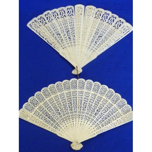 514 - Two 19th Century Chinese carved ivory Fans...