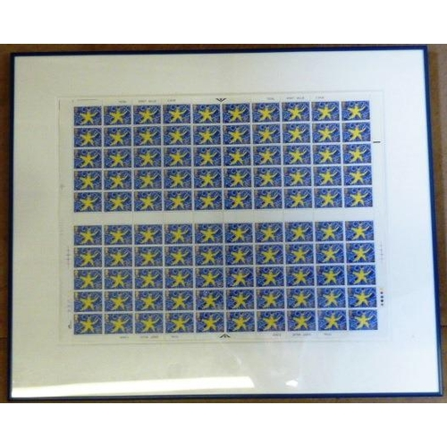 526 - An unusual framed and glazed Stamp Block set (numbered 167435) commemorating the single European Mar...
