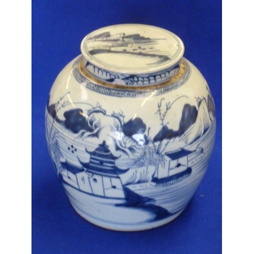 53 - A 19th Century Chinese provincial Ginger Jar and Cover hand decorated in underglaze blue in typical ...