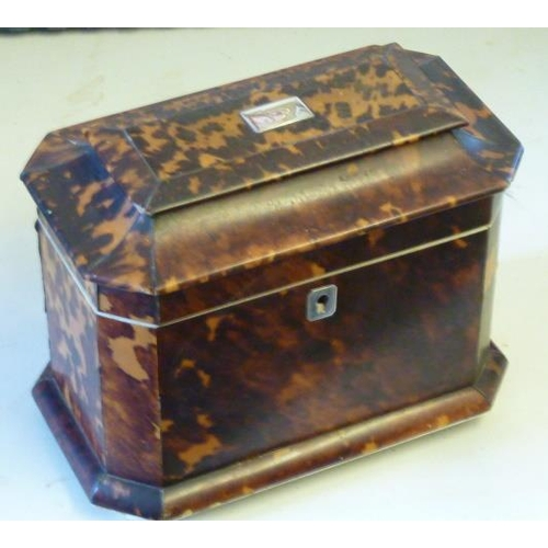 535 - An early 19th Century tortoiseshell and ivory mounted two division Tea Caddy, the hinged lid with wh...