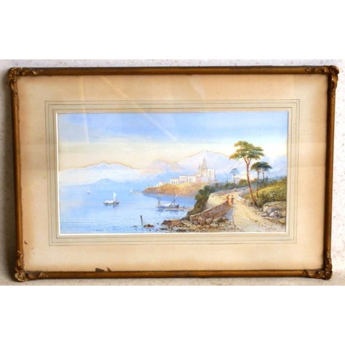 541 - A gilt framed Irish Watercolour of a Continental lake scene, signed indistinctly E....?, pencil to v...