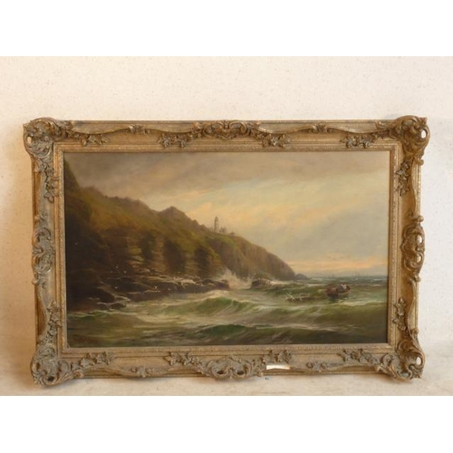542 - George Henry Jenkins (British 1843-1914), a framed Oil on Canvas coastal seascape, possibly Point Ro...