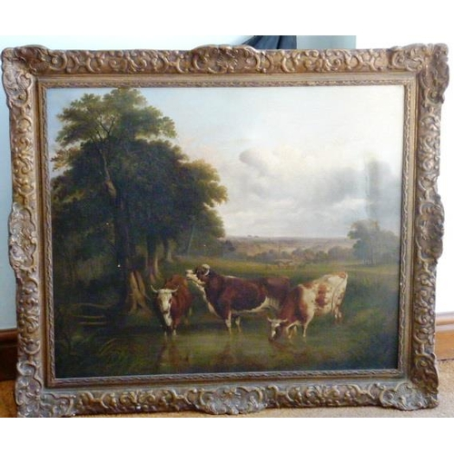 543 - A large 19th Century gilt framed Oil on Canvas countryside Study of cattle watering (some craquelere...