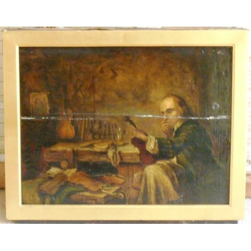 547 - A gilt framed (later) 19th Century Oil on Panel Study ''The Violin Maker'', (apparently unsigned), f...
