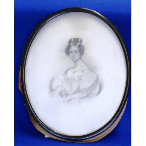 549 - A mid 19th Century ebonised oval framed and glazed half length Portrait Sketch of a beautiful young ...