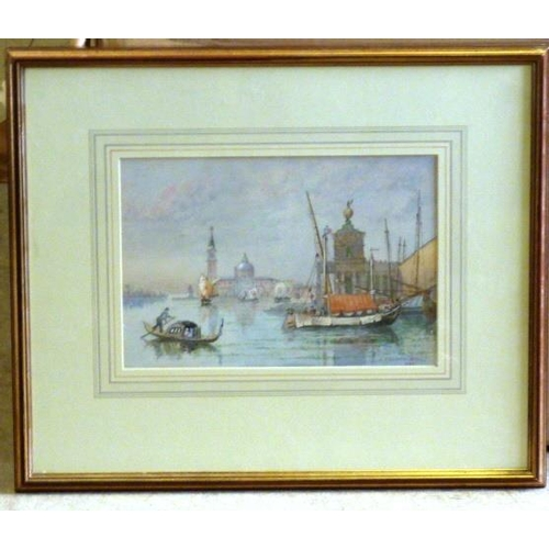553 - John Whitacre Allen fl. 1859-1901, a gilt framed and glazed Watercolour Study ''Venetian Waterway'',...