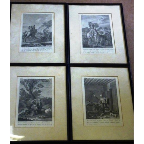 555 - Four ebonised framed and glazed (later) monochrome Engravings relating to Don Quixote (foxing), each...