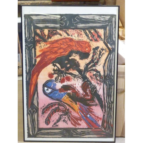558 - * An ebonised framed and glazed Limited Edition (3/75) surrealist style colour Print of parrots perc...