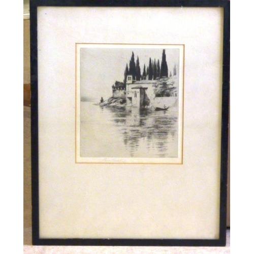 560 - * P Gaskell, an ebonised framed and glazed monochrome Etching depicting a lone figure on a boat and ...