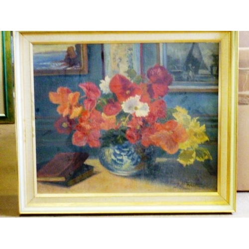 561 - * A framed Oil on Canvas still life Study of flowers in a vase signed lower right J L Touttain, 52.5...