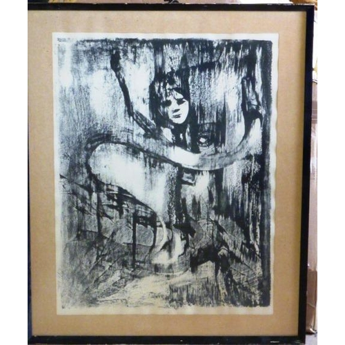 562 - * An ebonised framed and glazed Limited Edition (56/125) monochrome Lithograph, surrealist female nu...
