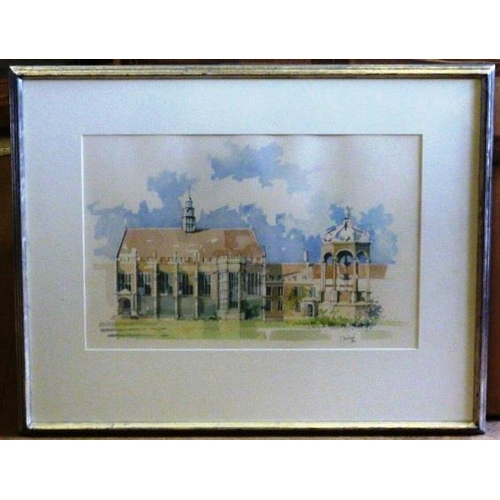 563 - * Sophie Birdwood ''Trinity Court, Cambridge'' silver framed and glazed Watercolour Study, signed an...