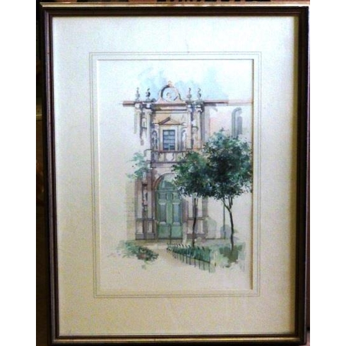 564 - * Sophie Birdwood, a framed and glazed Watercolour Study ''Doorway to Fonseca'', initialled and date...