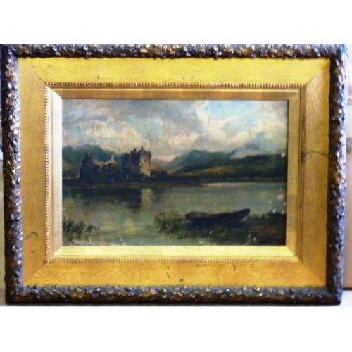 565 - Lawrence Webb, a gilt framed and glazed 19th Century Oil on Canvas Study of castle ruins before a lo...